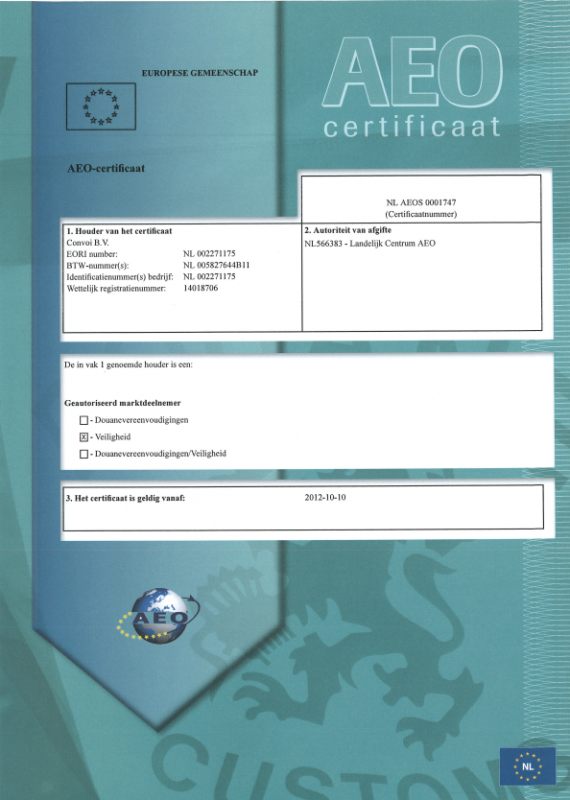 AEO-certificate Convoi B.V. valid from 10-10-2012