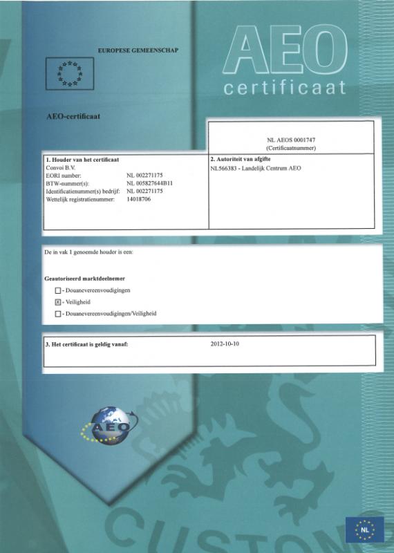 AEO-certificate Convoi B.V. valid from 10-10-2012
