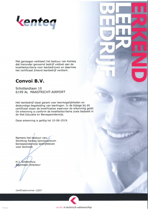 Certificaat Erkend Leerbedrijf geldig tot 10-06-2019