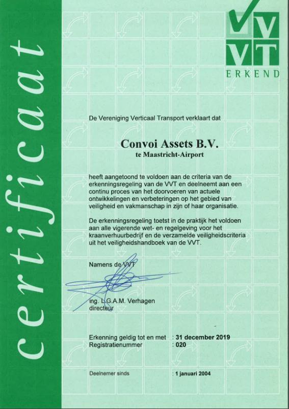 Certificaat erkenningsregeling VVT geldig tot 31-12-2019
