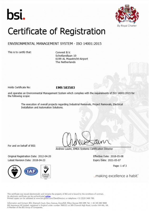 Convest ISO14001-2015 EN valid until 07-05-2021