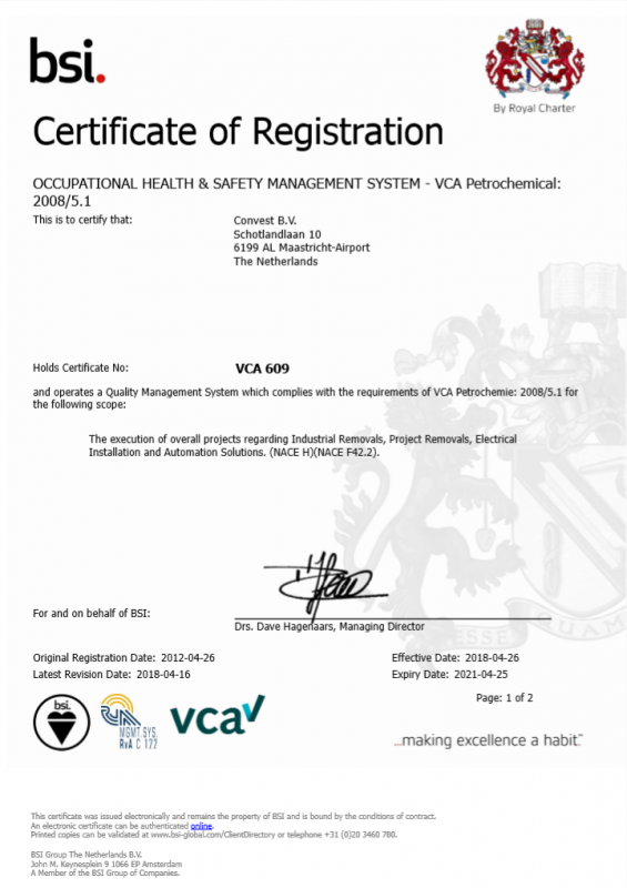 Convest VCA-P EN valid until 25-04-2021