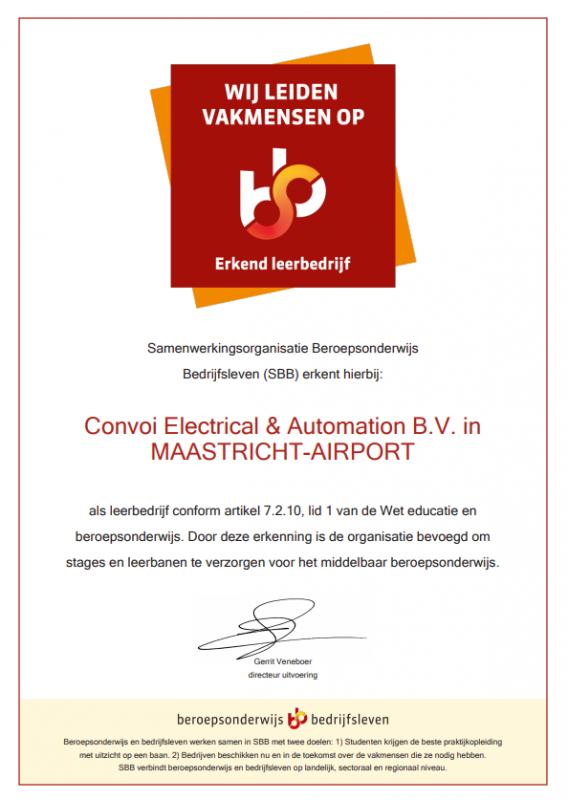 Certificaat erkend leerbedrijf Convoi Electrical & Automation B.V.