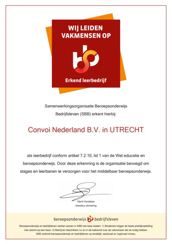 Certificaat erkend leerbedrijf Convoi Nederland B.V.