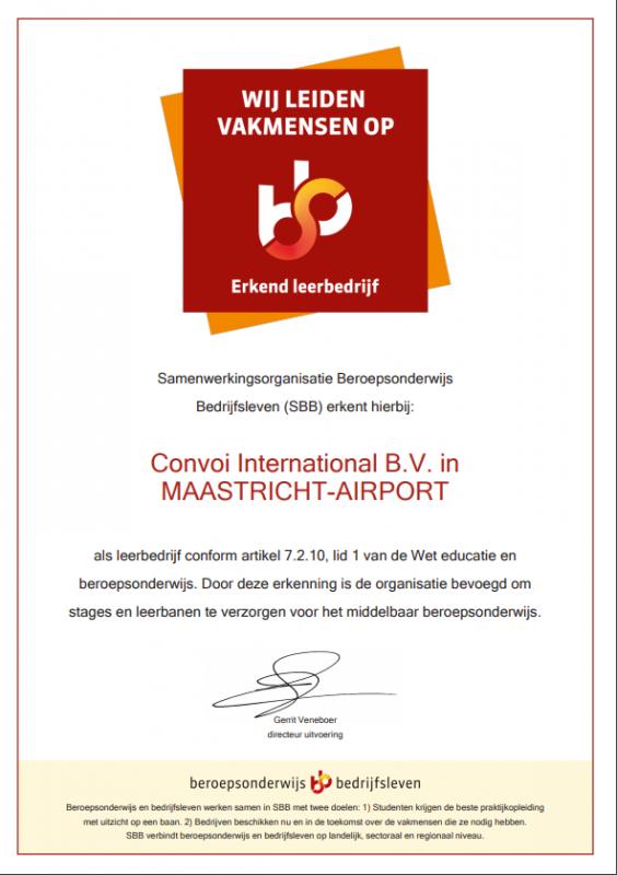 Certificaat Erkend Leerbedrijf Convoi International B.V.