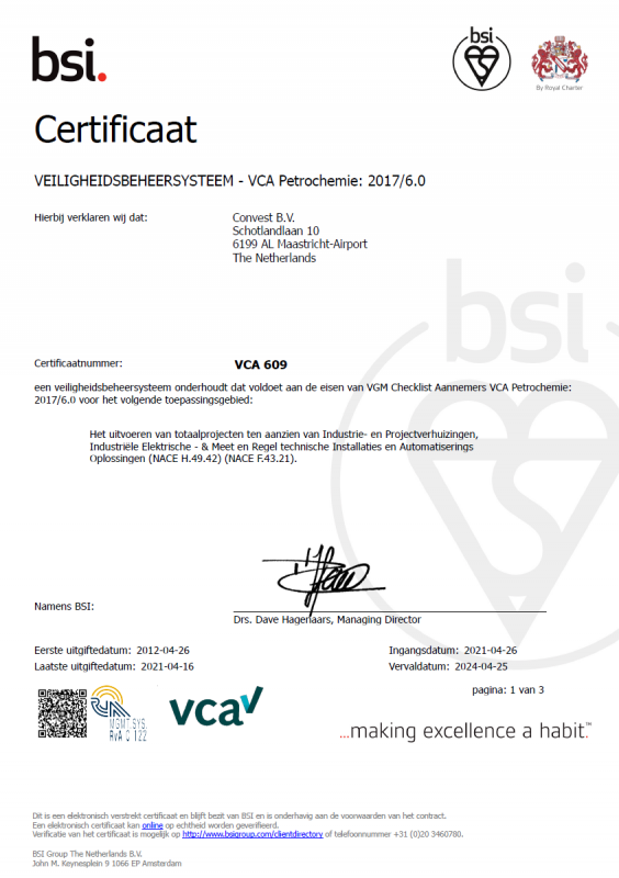 Convest VCA-P EN valid until 25-04-2024